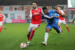Conor McLaughlin of Fleetwood Town gets to grips with Kgosi Ntlhe of Peterborough United - Mandatory by-line: Joe Dent/JMP - Mobile: 07966 386802 - 05/04/2016 - FOOTBALL - Highbury Stadium - Fleetwood, England - Fleetwood Town v Peterborough United - Sky Bet League One