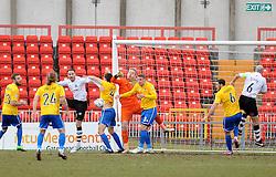 Bristol Rovers' Steve Mildenhall punches clear - Photo mandatory by-line: Neil Brookman/JMP - Mobile: 07966 386802 - 28/02/2015 - SPORT - Football - Gateshead - Gateshead International Stadium - Gateshead v Bristol Rovers - Vanarama Football Conference