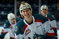 KELOWNA, CANADA - JANUARY 16:  Michael Farren #16 of the Kelowna Rockets smiles at the camera during warm up against the Moose Jaw Warriors on January 16, 2019 at Prospera Place in Kelowna, British Columbia, Canada.  (Photo by Marissa Baecker/Shoot the Breeze)