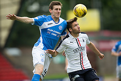 St Johnstone's Blair Alston and Falkirk's Luke Leahy. Half time ; St Johnstone 2 v 0 Falkirk, Group B, Betfred Cup, played 23/7/2016 at St Johnstone's home ground, McDiarmid Park.