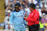 Cricket - 2019 ICC Cricket World Cup - Semi-Final: England vs. Australia<br /> <br /> Umpire Marais Erasmus asks England's Jason Roy to leave the pitch as Umpire Dharmasena gives him out for 85, caught by Australia's Alex Carey off the bowling of Pat Cummins, at Edgbaston, Birmingham.<br /> <br /> COLORSPORT/ASHLEY WESTERN