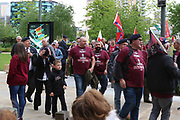 Supporters arrive during the Soldier F Protest at Media City, Salford, United Kingdom on 18 May 2019.