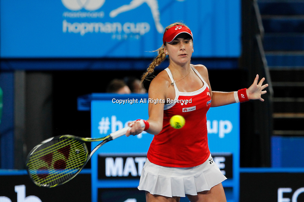 04.01.2017. Perth Arena, Perth, Australia. Mastercard Hopman Cup International Tennis tournament. Belinda Bencic (SUI) plays a fore hand shot during her match against Andrea Petkovic (GER). Bencic won in straight sets 6-3, 6-4.