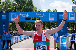 London, May 25th 2014. Andy Vernon moments after winning the Bupa London 10,000 in a time of 29 minutes and 32 seconds.