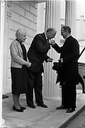 17/05/1962<br /> 05/17/1962<br /> 17 May 1962<br /> Papal Nuncio visit to President at Aras an Uachtarain, Phoenix Park, Dublin. Picture shows President de Valera and Mrs de Valera bidding farewell to the Nuncio, His Excellency Dr. Antonio Riberi who paid a farewell visit before leaving Ireland at the end of his time as Nuncio.