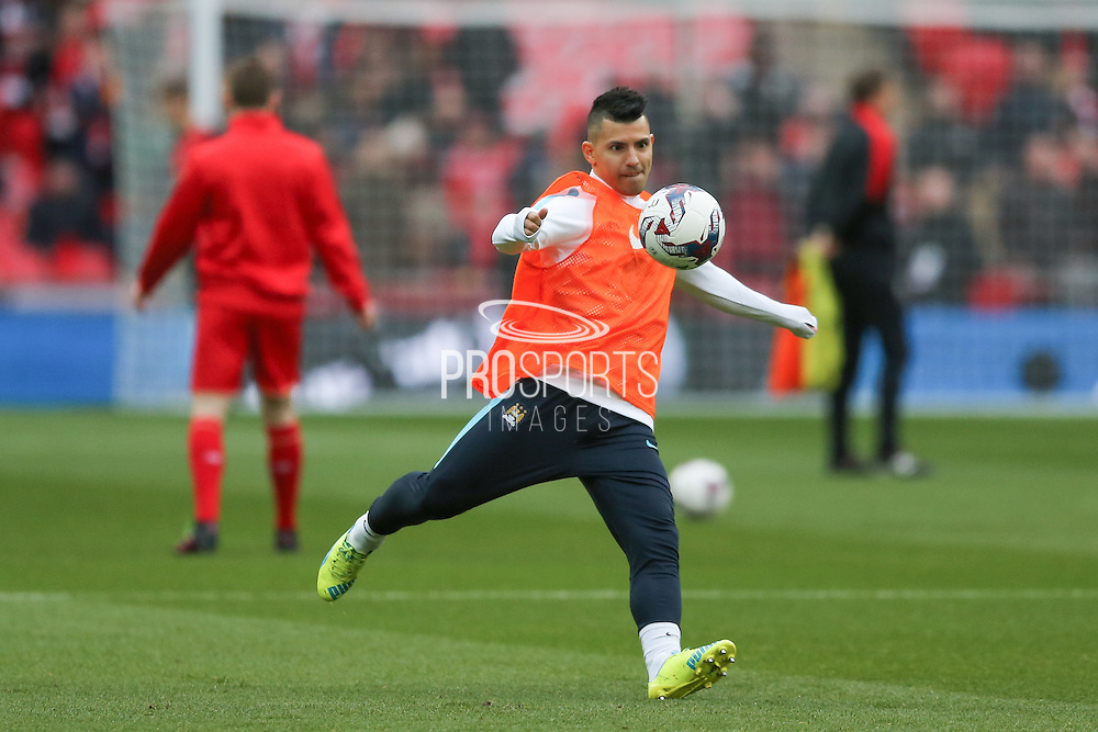 Manchester City forward Sergio Aguero (10)  during the Capital One Cup match between Liverpool and Manchester City at Anfield, Liverpool, England on 28 February 2016. Photo by Simon Davies.