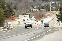 Vehicles traveling on the Laconia Bypass Monday morning.  (Karen Bobotas/for the Laconia Daily Sun)