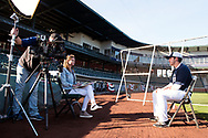 MESA, AZ - FEBRUARY 5:  Participant of the 2017 Prospect Development Pipeline Premier is interviewed at Sloan Park on Sunday, February 5,  2017 in Tempe, Arizona. (Photo by Jennifer Stewart/MLB Photos)