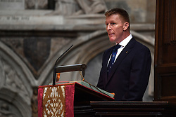 Astronaut Tim Peake speaking at the memorial service for Professor Stephen Hawking, at Westminster Abbey, London.