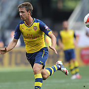 Nacho Monreal, Arsenal, in action during the New York Red Bulls Vs Arsenal FC,  friendly football match for the New York Cup at Red Bull Arena, Harrison, New Jersey. USA. 26h July 2014. Photo Tim Clayton