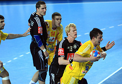 Christian Schone (19) of Germany vs Naumce Mojsovski (18) of Macedonia during 21st Men's World Handball Championship preliminary Group C match between FYR Macedonia and Germany, on January 21, 2009, in Arena Varazdin, Varazdin, Croatia. (Photo by Vid Ponikvar / Sportida)
