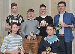Westport AC's U16 Boys All Ireland Medalist at the club's annual awards  Seated John Keane and Patrick Chambers, Standing Lto R Shane Ryall, Cian McAllister, Luke Dawson and Aaron Doherty.Pic Conor McKeown