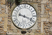 Clock, clocktower, Lastres village, Asturias, Spain.