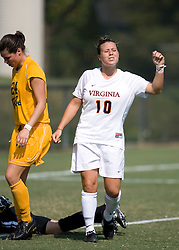Virginia Cavaliers F/M Kelly Quinn (10) reacts after missing a shot just wide of the goal.  The Virginia Cavaliers women's soccer team defeated the William and Mary Tribe 1-0 in double overtime at Klockner Stadium in Charlottesville, VA on September 23, 2007.