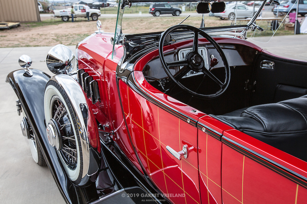 The cockpit of the 1930 Willys-Knight Phaeton.