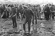 Rock Festival fans on the morning after a heavy rain at the Woodstock rock festival at Max Yasgur's 600 acre farm, in the rural town of Bethel, NY, on the weekend of August 16-18, 1969.