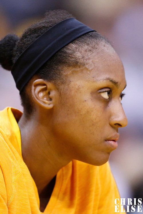 18 May 2014: Los Angeles Sparks forward/center Sandrine Gruda (7) is seen on the bench during the Phoenix Mercury 74-69 victory over the Los Angeles Sparks, at the Staples Center, Los Angeles, California, USA.