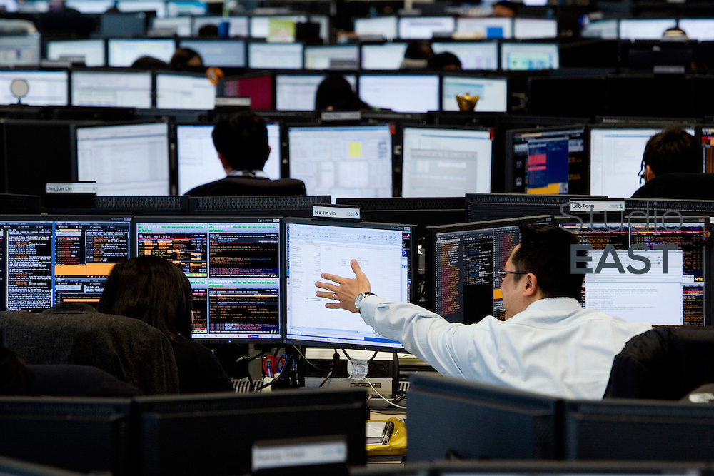 Standard Chartered Bank's trading floor in International Finance Center building, in Hong Kong, China, on January 24, 2011. Photo by Lucas Schifres/Pictobank