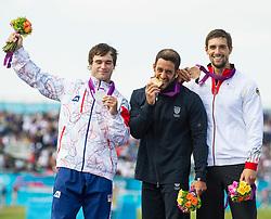 01.08.2012, Lee Valley White Water Centre, London, GBR, Olympia 2012, Schwimmen, Kajak, Herren, Finale, im Bild am Podium v.l. Vavrinec Hradilek (CZE, Silber Medaille), Daniele Molmenti (ITA, Gold Medaille) und Hannes Aigner (GER, Bronze Medaille) // f.l.t.r. silver medal Vavrinec Hradilek of Czech republic, gold medal Daniele Molmenti of Italy and bronze medal Hannes Aigner of Germany on Podium after Kayak (K1) Men final at the 2012 Summer Olympics at Lee Valley White Water Centre, London, United Kingdom on 2012/08/01. EXPA Pictures © 2012, PhotoCredit: EXPA/ Johann Groder