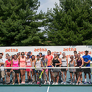 August 25, 2016, New Haven, Connecticut: <br /> Andreja Klepac and Ekaterina Srebotnik attend a clinic at the AETNA Fit Zone during Day 7 of the 2016 Connecticut Open at the Yale University Tennis Center on Thursday, August  25, 2016 in New Haven, Connecticut. <br /> (Photo by Billie Weiss/Connecticut Open)