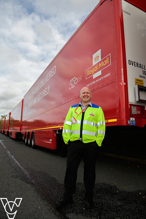 Pictured is Yorkshire Distribution Centre plant manager Steven Edgley with the double decker trailers.<br /> <br /> Royal Mail is rolling out 400 new double decker trailers (called 95's), which feature a rising platform to provide two layers of storage.   They are currently used for transporting Yorks, but at the end of October, Yorkshire Distribution Centre is going to use them to loose load 16,000 packages - double the current capacity of the single trailers.<br /> <br /> Picture: Chris Vaughan Photography<br /> Date: October 17, 2016