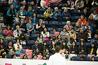 KELOWNA, BC - OCTOBER 25:  Fans wave flags in support of American ice dancers Kaitlin Hawayek and Jean-Luc Baker during Skate Canada International at Prospera Place on October 25, 2019 in Kelowna, Canada. (Photo by Marissa Baecker/Shoot the Breeze)