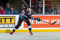 KELOWNA, CANADA - NOVEMBER 3:  Braydyn Chizen #22 of the Kelowna Rockets takes a shot against the Brandon Wheat Kings on November 3, 2018 at Prospera Place in Kelowna, British Columbia, Canada.  (Photo by Marissa Baecker/Shoot the Breeze)
