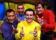 PERTH, AUSTRALIA - NOVEMBER 30:  The Wiggles children's entertainers (L-R) Jeff Fatt, Anthony Field, Sam Moran and Murray Cook pose for a photo on stage after The Wiggles held a press conference to announce understudy Sam Moran will stand in for yellow Wiggle Greg Page for their foreseeable future performances following Page falling ill with a condition called orthostatic intolerance, at Burswood Dome on November 30, 2006 in Perth, Australia. The condition has caused Page to faint repeatedly, and he is considered unfit to continue with the group's current tour. The Wiggles are Australia's highest-earning entertainers, earning AUD50 million last year.  (Photo by Paul Kane/Getty Images) *** Local Caption *** Sam Moran;Jeff Fatt;Murray Cook;Anthony Field