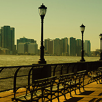 The Promenade/Battery Park  in Lower Manhattan with New Jersey. New York City.