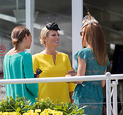 (Centre) Zara Phillips with Natalie Pinkham (right) at Ladies Day at Glorious Goodwood in the UK  <br /> Thursday, 1st August 2013<br /> Picture by i-Images