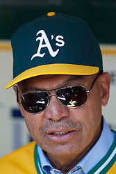 OAKLAND, CA - APRIL 27: Hall of Fame baseball player Reggie Jackson in the Oakland Athletics dugout before the game against the Baltimore Orioles at O.co Coliseum on April 27, 2013 in Oakland, California. The Baltimore Orioles defeated the Oakland Athletics 7-3. (Photo by Jason O. Watson/Getty Images) *** Local Caption *** Reggie Jackson