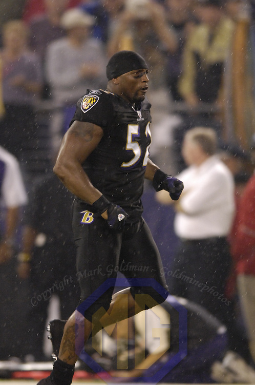 19 August 2007:  Baltimore Ravens linebacker Ray Lewis (52) is introduced to the crowd at the start of the pre season game against the New York Giants. The Giants defeated the Ravens 13-12 at M&T Bank Stadium in Baltimore, Md.