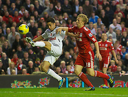 05.11.2011, Anfield Stadion, Liverpool, ENG, Premier League, FC Liverpool vs Swansea City, im Bild Liverpool's Dirk Kuyt and Swansea City's Neil Taylor  // during the premier league match between FC Liverpool vs Swansea City at Anfield Stadium, Liverpool, EnG on 05/11/2011. EXPA Pictures © 2011, PhotoCredit: EXPA/ Propaganda Photo/ David Rawcliff +++++ ATTENTION - OUT OF ENGLAND/GBR+++++