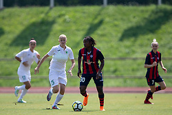 Zala Vindisar of ZNK Olimpija Ljubljana and Alvine Njolle of FC Minsk during football match between FC Minsk and ZNK Olimpija Ljubljana in 2nd Qualifying Group of UEFA Women's Champions League 2018/19, on August 7, 2018 in Stadion ZAK, Ljubljana, Slovenia. Photo by Urban Urbanc / Sportida