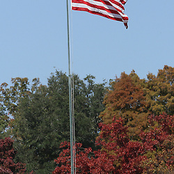 The American flag flies high among the fall colors during the Samford versus Wofford game at Seibert Stadium in Homewood, Ala., Saturday, Oct 13, 2012. Samford defeats Wofford 24-17 in Overtime. (Marvin Gentry)