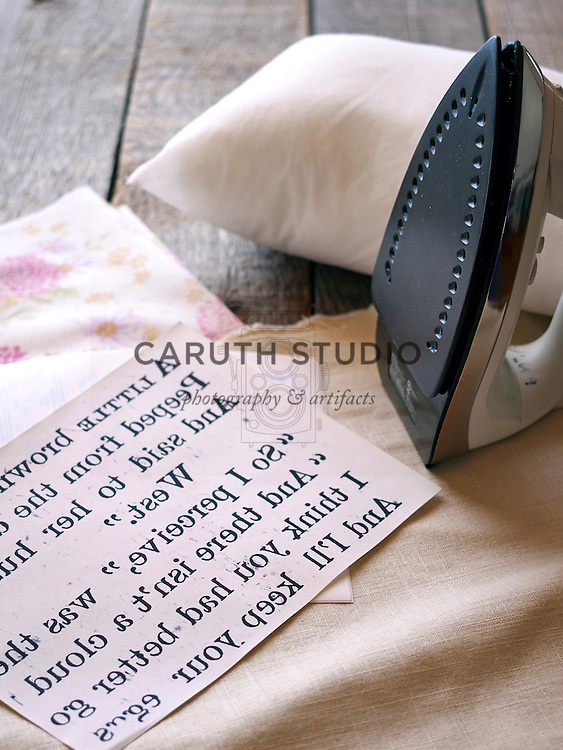 Projects made with old books: Making iron-on pillow transfer