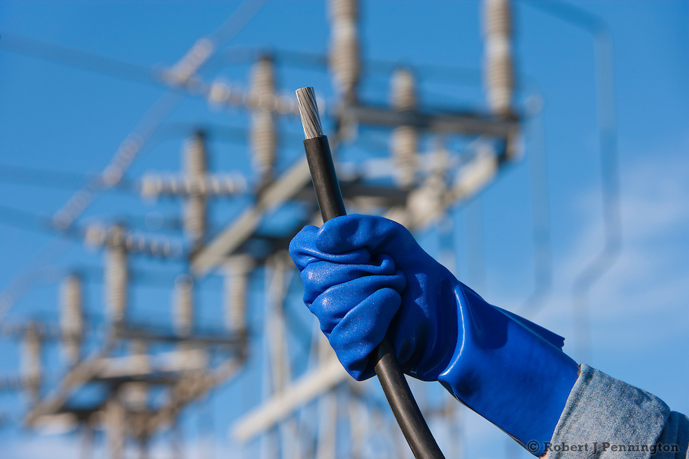 Power to the people. A gloved hand holds wires and plugs in front of an electrical utility substation.