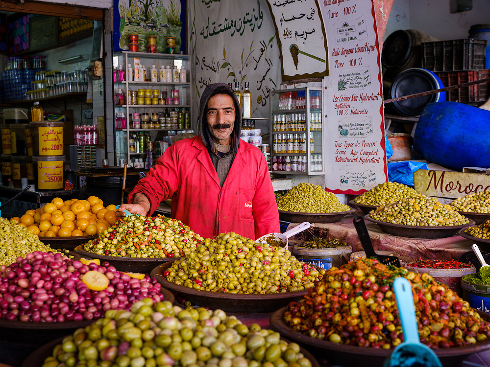 CASABLANCA, MOROCCO - CIRCA APRIL 2018: Merchant at The Great Habous Olive Market in Casablanca.