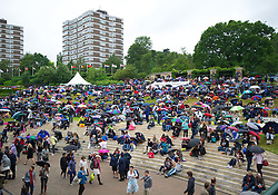 LONDON, ENGLAND - Monday, July 2, 2012: Fans on Henman Hill, Murray Mound during the Gentlemen's Singles 4th Round match on day seven of the Wimbledon Lawn Tennis Championships at the All England Lawn Tennis and Croquet Club. (Pic by David Rawcliffe/Propaganda)