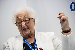 © Licensed to London News Pictures . 12/09/2017. Manchester , UK . ETHEL ARMSTRONG (88) , from Lanchester near Durham , who has worked in the NHS continually since its inception on 5th July 1948 , at the Health and Care Innovation Expo at Manchester Central Convention Centre . Ethel continues to work and is life patron of the NHS Retirement Fellowship charity and a Governor of Durham & Darlington NHS Foundation Trust and hopes to remain in those roles and to have delivered over 70 years of service when the NHS turns 70 in 2018 . Photo credit: Joel Goodman/LNP