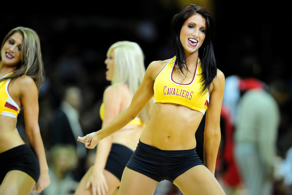 Feb. 23, 2011; Cleveland, OH, USA; A Cleveland Cavaliers cheerleader during the third quarter against the Houston Rockets at Quicken Loans Arena. The Rockets beat the Cavaliers 124-119. Mandatory Credit: Jason Miller-US PRESSWIRE