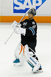 April 29, 2011; San Jose, CA, USA;  San Jose Sharks goalie Antero Niittymaki (30) warms up before game one of the western conference semifinals of the 2011 Stanley Cup playoffs against the Detroit Red Wings at HP Pavilion. San Jose defeated Detroit 2-1 in overtime. Mandatory Credit: Jason O. Watson / US PRESSWIRE