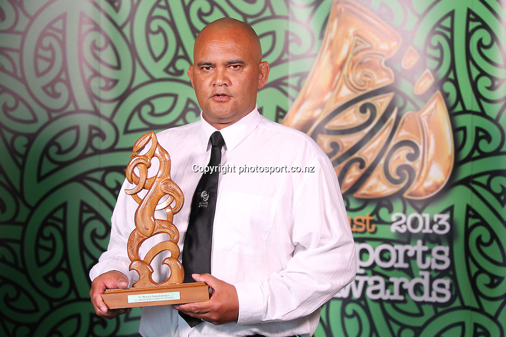 301113 2013  Moari Sports Coach of the Year awarded to Sean Horan for sevens. Accepted by Tiki Edwards from the NZRU at the Trillian Trust Maori Sports Awards at Vodafone Events Centre, Manukau. Photo: Fiona Goodall/photosport.co.nz