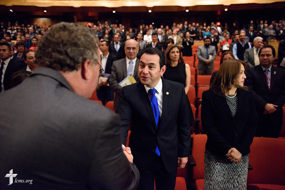 The Rev. Dr. Matthew C. Harrison, president of The Lutheran Church–Missouri Synod, greets Jimmy Morales, the president of Guatemala, at the Teatro Nacional during a celebration of the 500th anniversary of the Lutheran Reformation on Thursday, Oct. 5, 2017, in Guatemala City, Guatemala. LCMS Communications/Erik M. Lunsford
