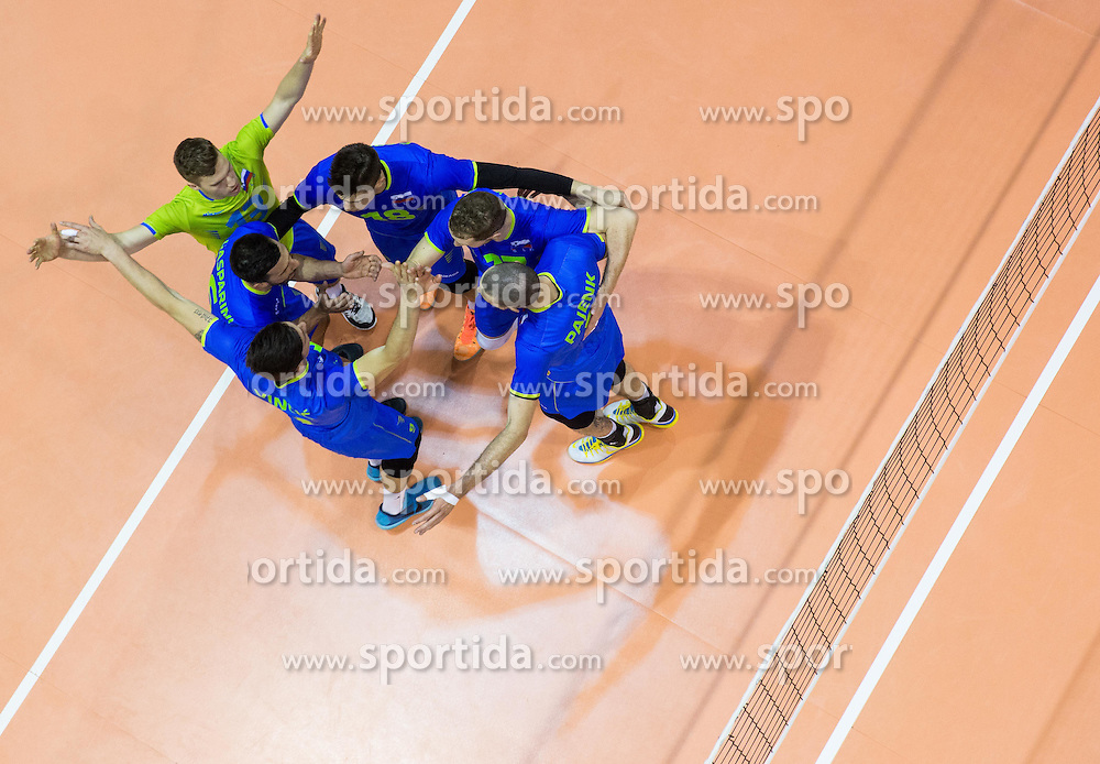 Players of Slovenia celebrate during volleyball match between National Teams of Slovenia and Portugal in 3rd Round of 2015 CEV Volleyball Men European Championship Qualifications, on May 24, 2015 in Arena Tabor, Maribor, Slovenia. Photo by Vid Ponikvar / Sportida