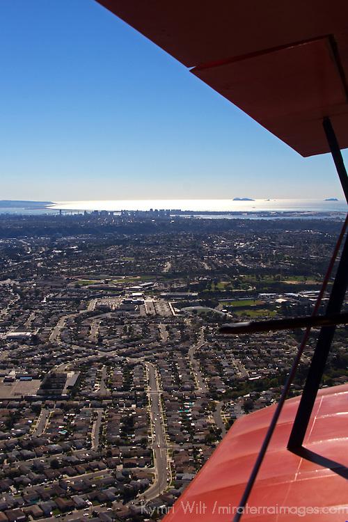 USA, California, San Diego. Bi-Plane Wings over San Diego