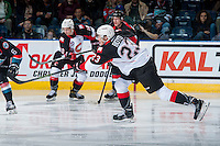 KELOWNA, CANADA - SEPTEMBER 28: Aaron Boyd #23 of Prince George Cougars takes a shot on net against the Kelowna Rockets on September 28, 2016 at Prospera Place in Kelowna, British Columbia, Canada.  (Photo by Marissa Baecker/Shoot the Breeze)  *** Local Caption *** Aaron Boyd;