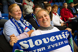 Slovenian fans during handball match between Iceland and Slovenia in  3rd Round of Preliminary Round of 10th EHF European Handball Championship Serbia 2012, on January 20, 2012 in Millennium Center, Vrsac, Serbia. Slovenia defeated Iceland 34-32. (Photo By Vid Ponikvar / Sportida.com)