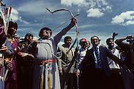 Mongolia. Ulaanbaatar. President ORCHIBAT shows his talent as an archer during the national holyday   /  Pour la Fête Nationale, le Président Orchibat montre ses talents au tir à l'arc  /  61      /  P0002184