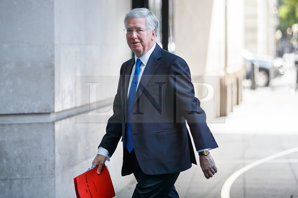 © Licensed to London News Pictures. 14/05/2017. London, UK. Defence Secretary MICHAEL FALLON arrives at BBC Broadcasting House in London to appear on The Andrew Marr show on BBC One on Sunday 14 May 2017. Photo credit: Tolga Akmen/LNP